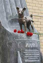 Lajka szobor Moszkvában